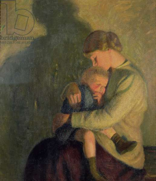 Mother and Child: Candlelight (oil on canvas)