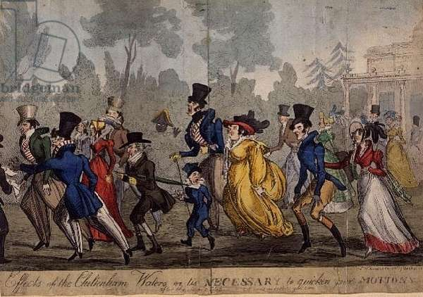 Effects of Cheltenham Waters or 'Tis necessary to quicken your motions after the second glass', 1823-33 (hand-coloured engraving)