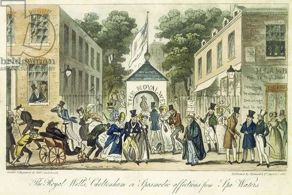 The Royal Wells, Cheltenham, or Spasmodic Affections for Spa Water, 1825 (coloured engraving)