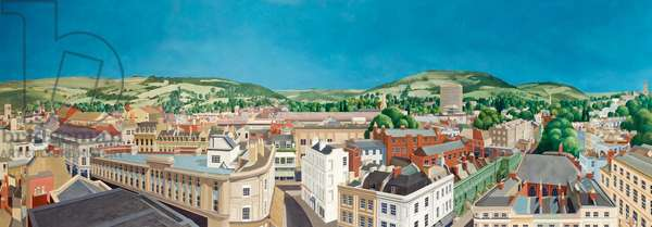 Panoramic View of Cheltenham, Gloucestershire, 1985 (oil on board)