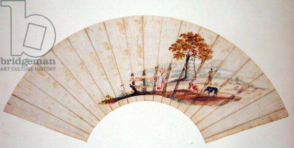 Fan depicting the tree known as 'Jacob's Ladder' in Charlton Park, to the east of Cheltenham, c.1745 (gouache on paper) (see also 151248)