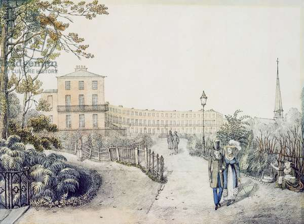 The Crescent, Cheltenham, 1821 (colour litho)