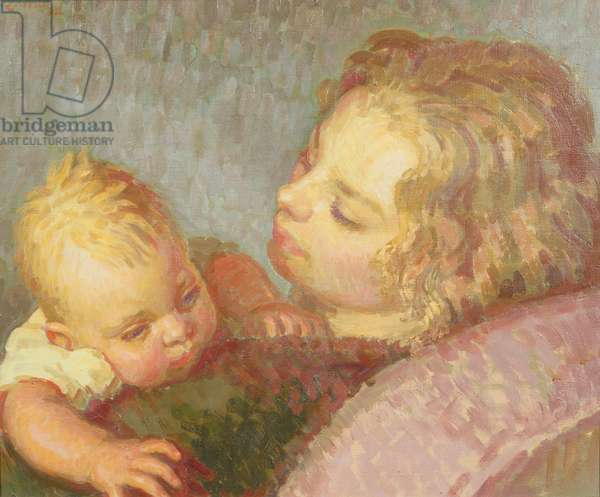 Portrait of the artist's wife, Lady Pansy Pakenham, and their baby daughter, 1932 (oil on canvas)