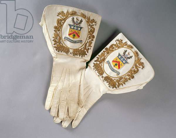 Mayor's gloves, worn by Mayor Newman Barefoot Thoyts when Mayor of Cheltenham in 1888-91 (embroidered silk)