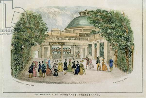 Montpelier Promenade, Cheltenham, engraved by W. Clerk, c.1835 (colour litho)