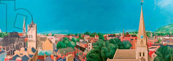 Panoramic View of Cheltenham, Gloucestershire, 1984 (oil on board)