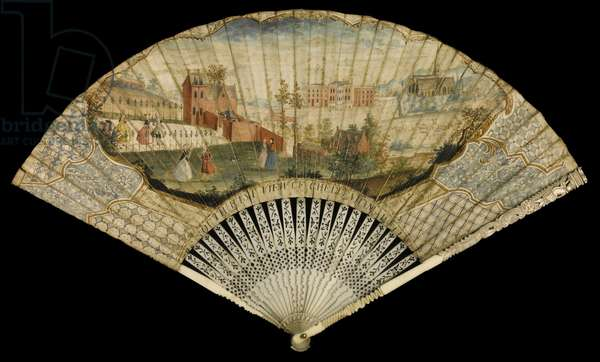 Fan decorated with the south east view of Cheltenham Well, 1740 (mixed media)