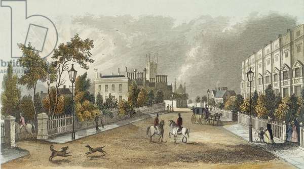 Lansdown Terrace, Cheltenham, engraved by by D. Eichbaum, c.1840 (colour litho)