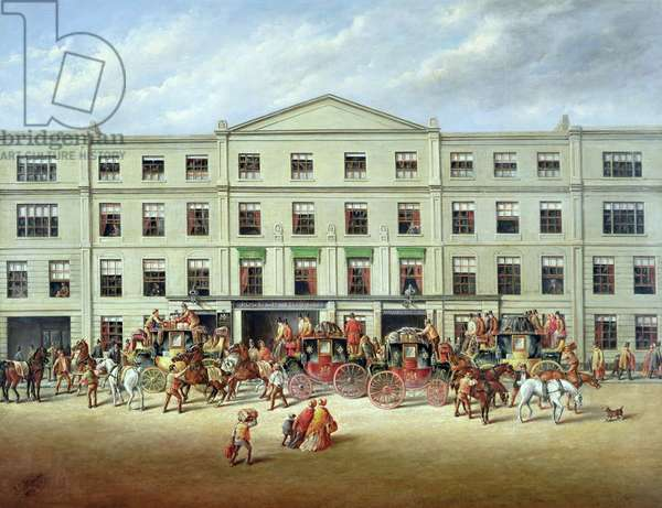 Changing Horses outside the Plough Inn, Cheltenham, 1870 (oil on canvas)