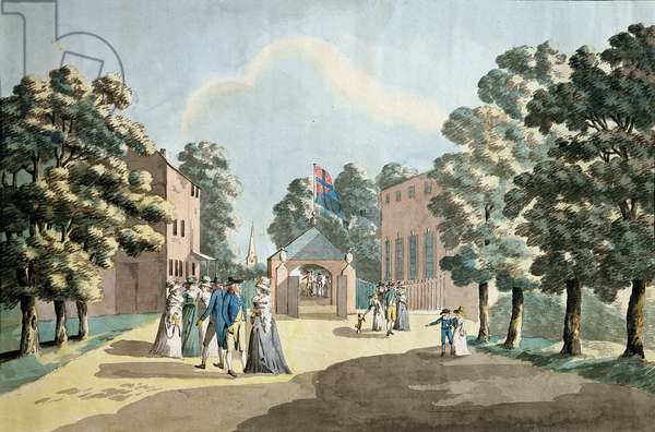 King George III and family at the Spa Well, Cheltenham, 1788 (colour litho)