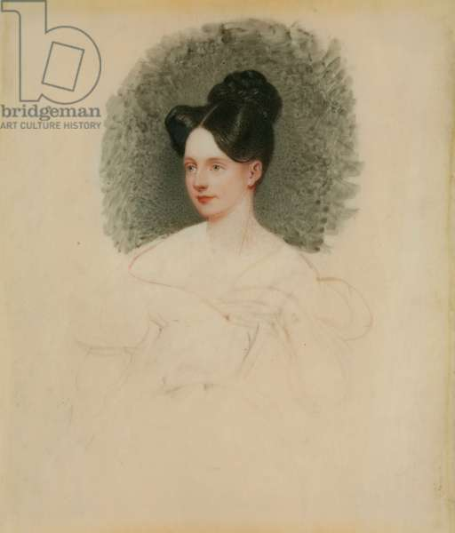 Unfinished portrait of Marianne Cregoe Colmare (later Mrs Baurton Bennett) c.1833-34 (miniature on ivory mounted on card)