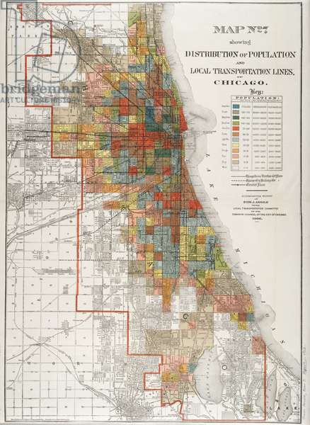 Map No. 7 showing distribution of population and local transportation lines, Chicago, Illinois, 1902 (colour litho)
