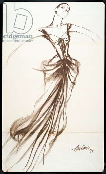 Costume design drawing of ball length dress with fitted bodice, low décolleté, cap sleeve and draped skirt.