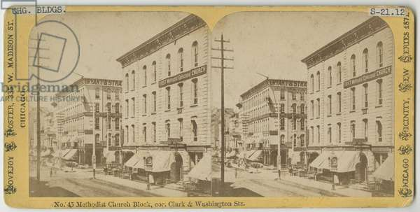 Stereograph of view of the Methodist Church Block at the corner of Clark and Washington Streets, Chicago, 1871 (b/w photo on card mount)