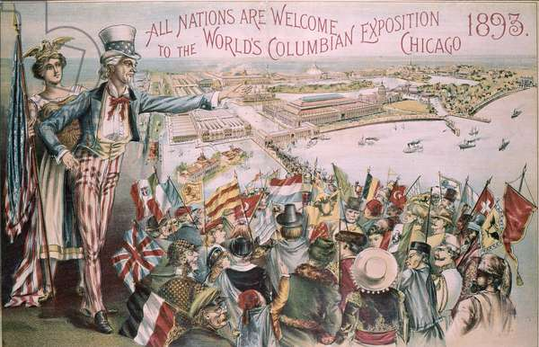 Advertisement for the World's Columbian Exposition world's fair, Chicago, Illinois, 1893 (colour litho)