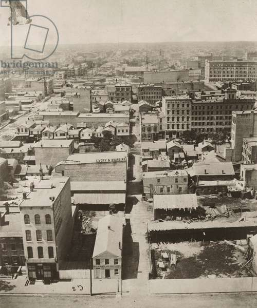 View west from the cupola of the courthouse in Chicago, 1858 (b/w photo)