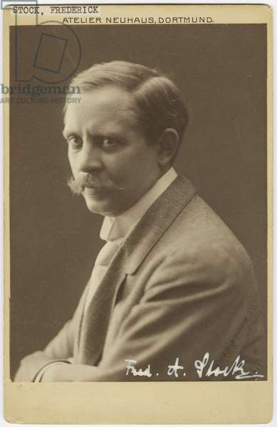 Portrait of Frederick Stock, German music conductor and composer, Dortmund, Germany, June 1912 (b/w photo)