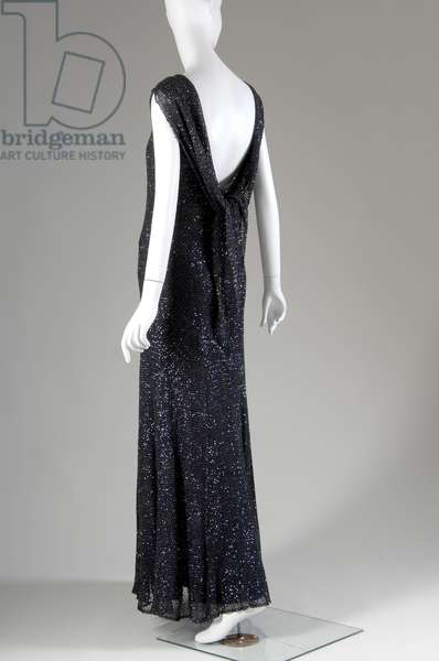"Evening dress, 1931 (back oblique view), Gabrielle ""Coco"" Chanel, France Crocheted silk, sequins"