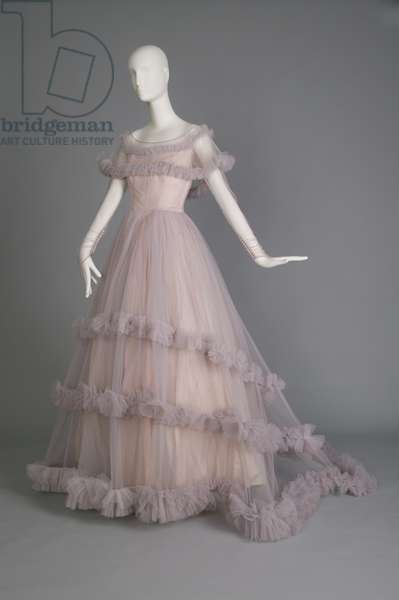 Wedding gown, ca.1955 (front oblique view), Silk tulle, taffeta, Marhsall Field & Co., Chicago