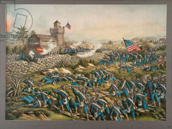 Charge of the 24th and 25th Colored Infantry and Rescue of the Rough Riders on San Juan Hill, 2nd July 1898, 1899 (colour litho)