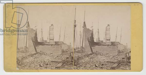 Stereograph of view of South Water St., between Clark and Wells, after the Chicago Fire of 1871 (b/w photo)
