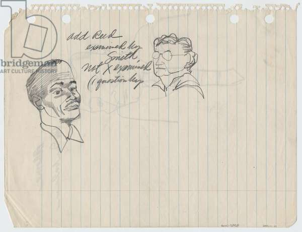 A Man and a Woman (verso of drawing of Ablome), 1955 (pencil on paper)