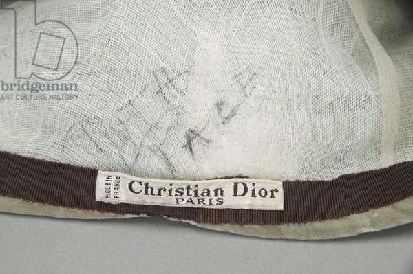 Designer label inside hat, c.1950, Christian Dior, Paris