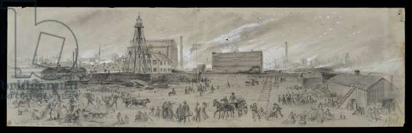 The view from Lake Michigan near the Chicago River during the Chicago Fire of 1871 (pencil & chalk on paper)