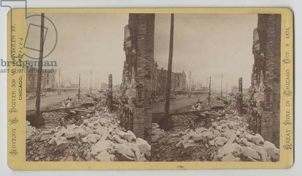 Stereograph of Washington Street from the corner of LaSalle Street looking east after the Chicago Fire of 1871, 1871 (b/w photo on card mount)