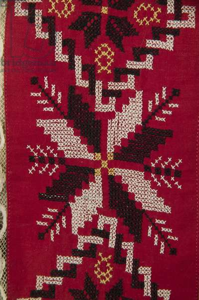 Detail of apron from Ukranian wedding ensemble, 1895, Embroidery