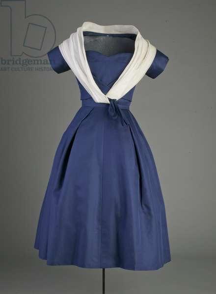 Cocktail dress, 1956 (front view), Silk taffeta, silk organza, Christian Dior