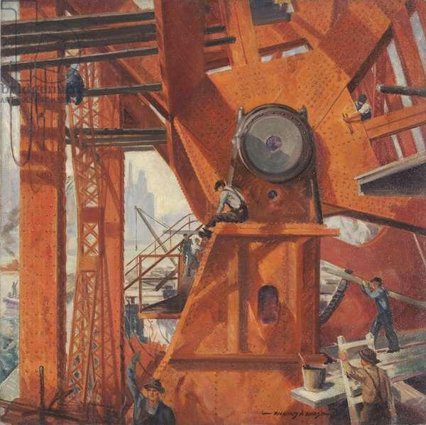 Erecting the Lake Shore Drive Bridge, c.1936 (oil on masonite)