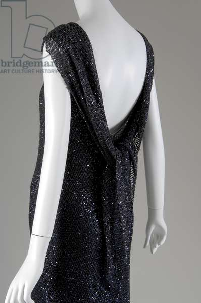 "Evening dress, 1931 (back oblique partial view), Gabrielle ""Coco"" Chanel, France Crocheted silk, sequins"