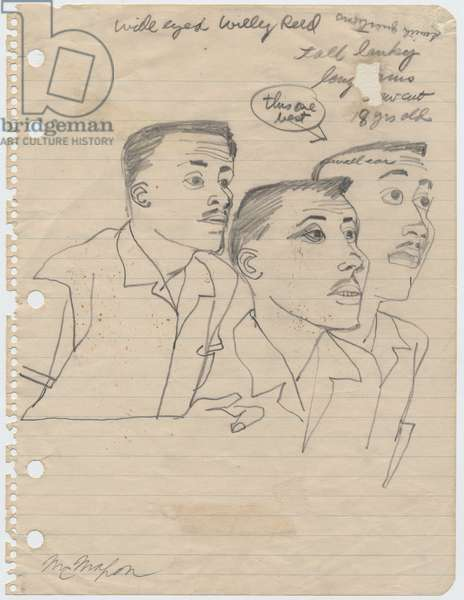 Sketches of Willy Reed, 1955 (pencil on paper)