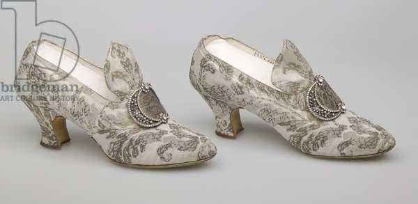 Bertha Palmer's shoes, c.1910, Silk satin with metallic thread brocade, rhinestone and metallic thread buckle, F, Pinet, Paris