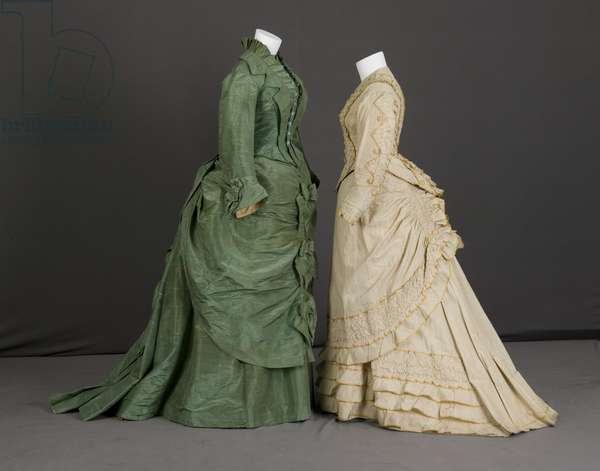 Trousseau dress, 1875 (silk moiré, maker unknown) and trousseau dress, 1880 (cotton twill, silk taffeta, no label)
