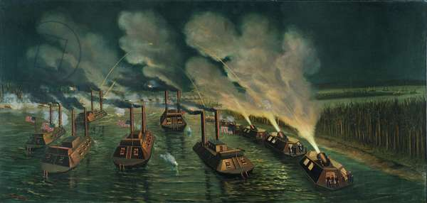 Gun and Mortar Boats on the Mississippi (oil on canvas)