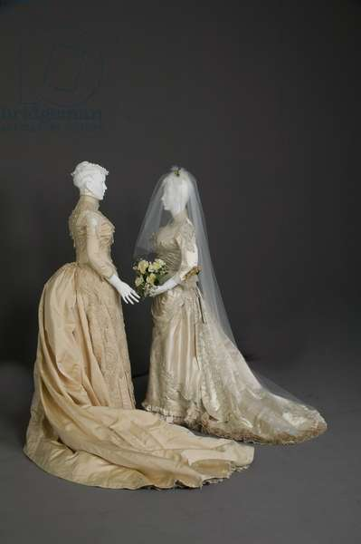 Wedding dresses, 1880s, Silk faille, net, lace, pearl, glass beads