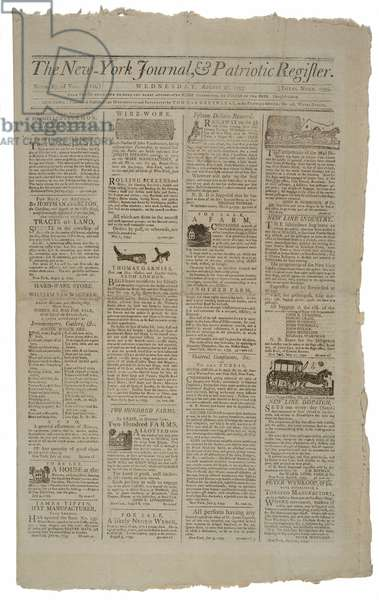 Front Page of the New York Journal & Patriotic Register, August 21, 1793 (litho)