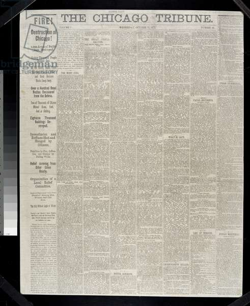 Front page of the Chicago Tribune regarding the Chicago Fire of 1871, 1871 (litho)