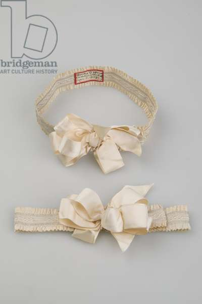 Garters, 1899, Silk satin ribbon, elastic, Maker unknown