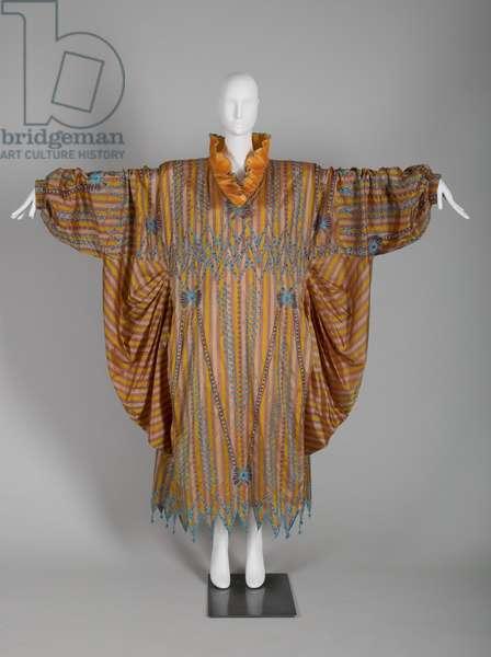 Evening dress, c.1985 (front view of dress, with arms extended), Silk taffeta, bead, silk thread, Zandra Rhodes, England