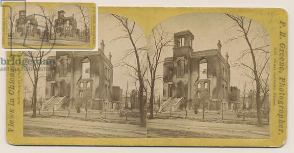 Stereograph of the Rumsey House after the Chicago Fire of 1871, 1871 (b/w photo on card mount)