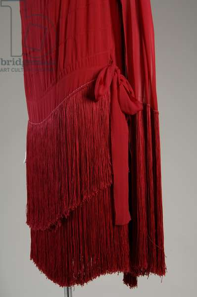 """Evening dress, c.1925 (side oblique partial view of skirt), Gabrielle """"Coco"""" Chanel, France Silk chiffon with silk fringe"""