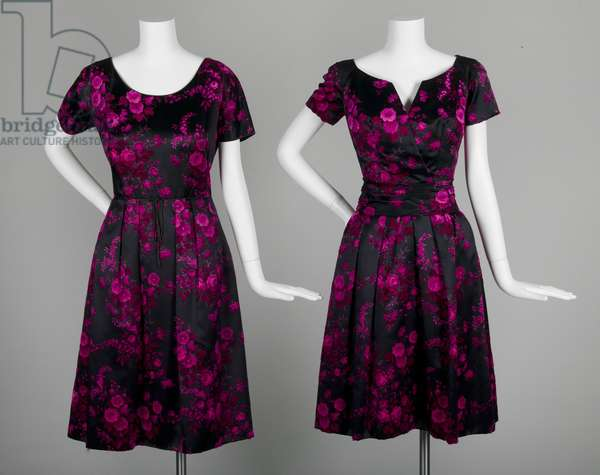 Dresses, c.1953, Silk velour, Christian Dior, France, and Sophie, United States