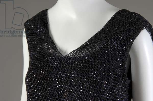 """Evening dress, 1931 (front oblique detail view of bust), Gabrielle """"Coco"""" Chanel, France Crocheted silk, sequins"""