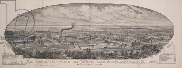 Manufacturing Town of Pullman, and Car Works Belonging to Pullman's Palace Car Company, 1881 (litho)