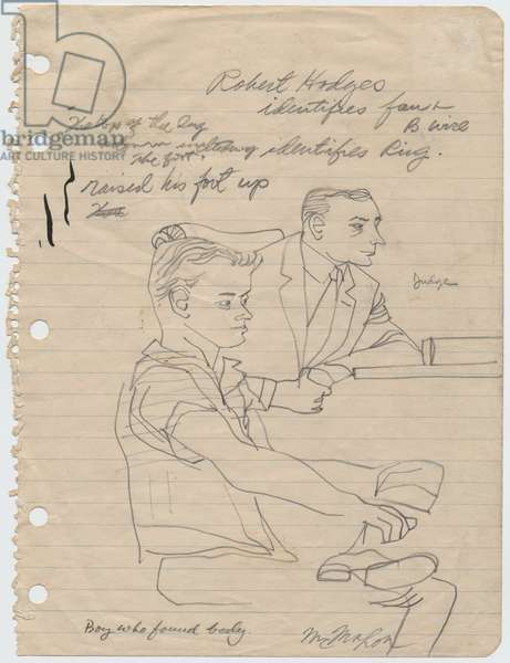 Robert Hodges and the Judge, 1955 (pencil on paper)