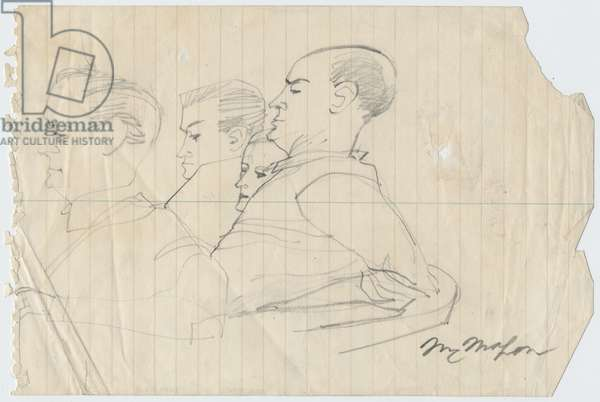 Milam, Bryant and Bryant's Mother, 1955 (pencil on paper)
