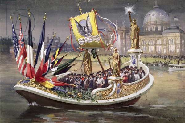 The 'Universal Brotherhood' Barge at the World's Columbian Exposition, Chicago, 1893 (oil on canvas)